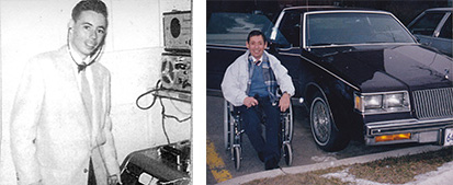 Old photograph of Brooke Duval in a radio station beside newer photo of Brooke with his car
